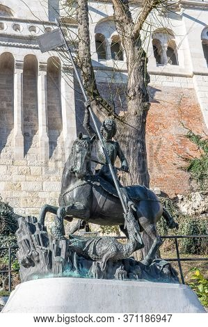 Budapest, Hungary - Feb 11, 2020: Bronze Statue Of Statue Of St. George At Fishermans Bastions