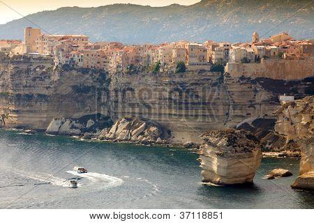 Bonifacio town on cliff, Corsica island, France