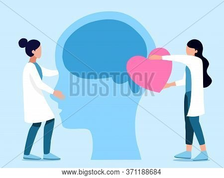 Mental Health ,brain Development  Medical Treatment Concept, Doctors  Work Together To Set Up Heart