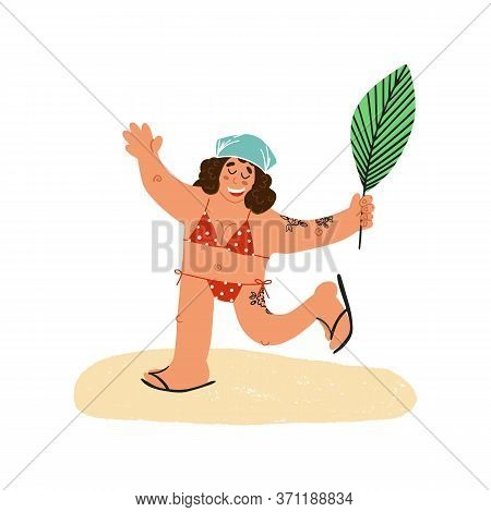 Funny Hand Drawn Young Happy Smiling Tattooed Woman In Bandanna With Palm Leaf Runs With Her Hands U