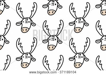 Hand Drawn Lines Cartoon Deer. Doodle Seamless Pattern For Kids Isolated On White Background. For Yo