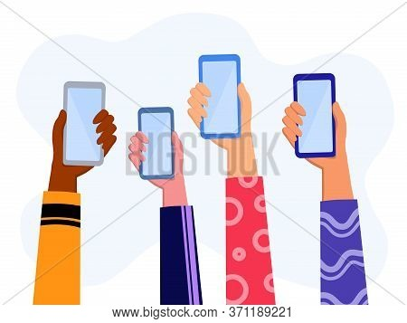 Hands Holding Smartphone  Wearing Colorful  Cloth With Online News Content, Group Of People Sharing