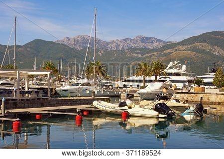 Yacht Marina. View Of Marina Of Porto Montenegro In Tivat City.  Montenegro, Autumn