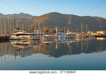 Yacht Marina. View Of Marina Of Porto Montenegro On Sunny Autumn Day.  Montenegro, Adriatic Sea, Bay