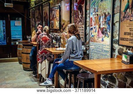 San Sebastian, Spain - January 28, 2019: Customers In Casa Alcalde Bar In San Sebastian City Also Ca