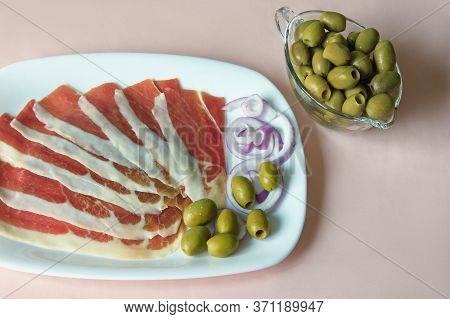 Balkan Cuisine . Slices Of Prsut: Dry-cured Ham,  Balkan Version Of Prosciutto. Space For Text