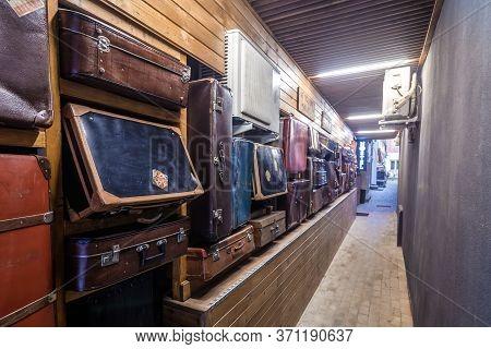 Brasov, Romania - July 18, 2019: Passage To A Small Hostel In Historic Part Of Brasov City Transylva