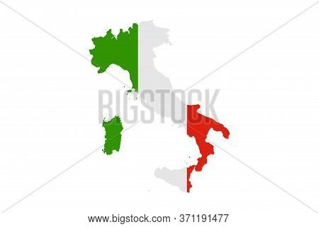 Italy Map With Flag Illustration,textured Background, Symbols Of Italy - Vector Illustration