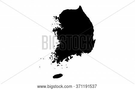 South Korea Map In Black On A White Background,illustration,textured , Symbols Of South Korea, Vecto