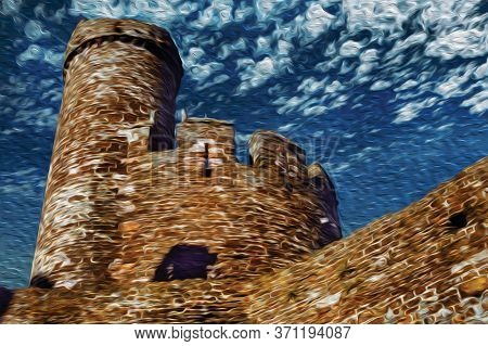Tower And Stone Battlements With Merlons At Conway Castle. A Historic Town With Well Preserved Medie