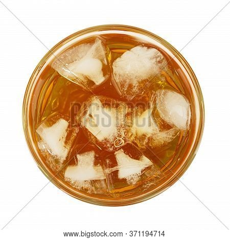 Close Up One Big Glass Of Iced Tea Cold Drink Isolated On White Background, Elevated Top View, Direc
