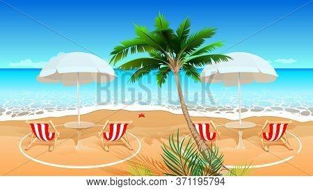 Beach Holiday After Coronavirus Covid 19 Epidemic. Chaise Longue Social Distance Circle Marking. Vec