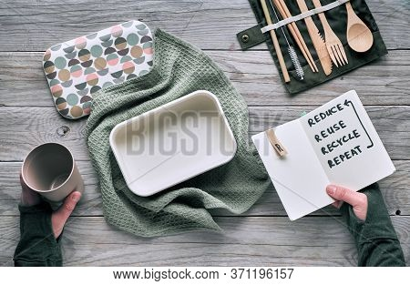 Creative Flat Lay, Zero Waste Lunch Concept With Set Of Reusable Wooden Cutlery, Lunch Box In Cotton