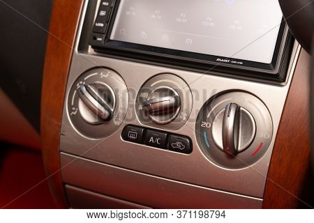 Novosibirsk/ Russia - June 03, 2020: Mitsubishi Colt,  Close Up Instrument Automobile Panel With  Cl