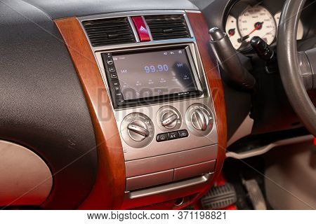 Novosibirsk/ Russia - June 03, 2020: Mitsubishi Colt, Close-up Of The Central Control Panel, Monitor