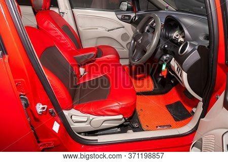 Novosibirsk/ Russia - June 03, 2020: Mitsubishi Colt, Prestige Car Interior With Dashboard, Steering