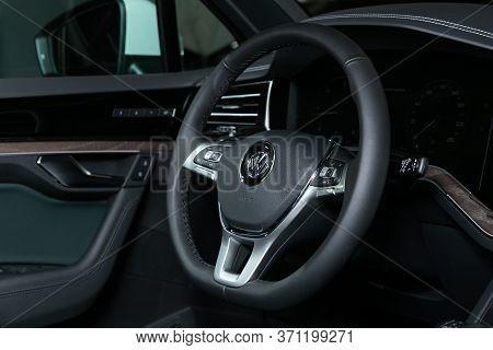 Novosibirsk/ Russia - March 15, 2020: Volkswagen Touareg, Salon Of A New Stylish Car. Auto Interior: