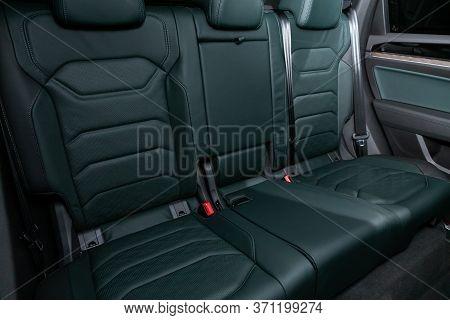 Novosibirsk/ Russia - March 15, 2020: Volkswagen Touareg, Comfort Car Inside. Clean Car Interior: Bl