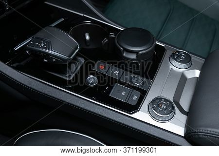 Novosibirsk/ Russia - March 15, 2020: Volkswagen Touareg, Gear Shift. Automatic Transmission Gear Of