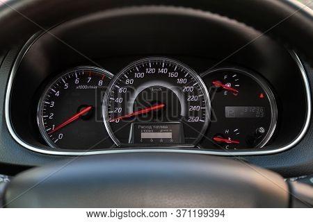 Novosibirsk/ Russia - May 22, 2020: Nissan Teana, Car Panel, Digital Bright Speedometer, Odometer An