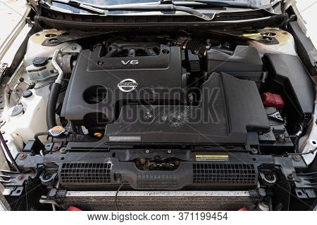 Novosibirsk/ Russia - May 22, 2020: Nissan Teana, Close Up Of A Clean Motor Block. Internal Combusti