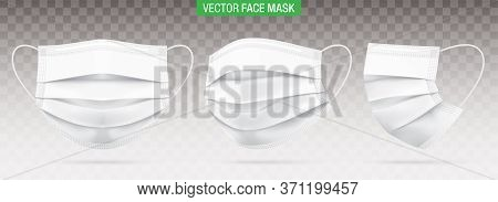 3 Ply Surgical Face Masks Isolated On A Transparent Background. Vector Set Of Disposable White Medic