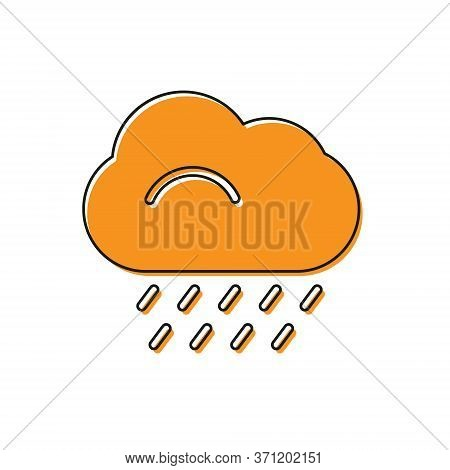 Orange Cloud With Rain Icon Isolated On White Background. Rain Cloud Precipitation With Rain Drops.