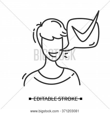 Customer Positive Feedback Icon. Client Head With Positive Answer Speech Bubble Pictogram. Marketing