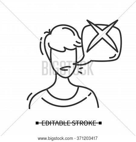 Customer Negative Feedback Icon. User Avatar With Negative Check Mark Speech Bubble. Marketing Servi
