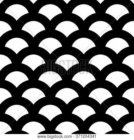 Fish Scale Wallpaper. Asian Traditional Ethnic Ornament With Repeated Scallops. Repeated White Scall