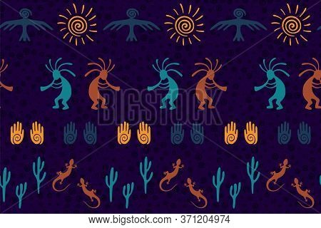 Ancient Aztec Or Mayan American Vector Ethnic Tribal Motifs Seamless Pattern. Traditional Design Wit