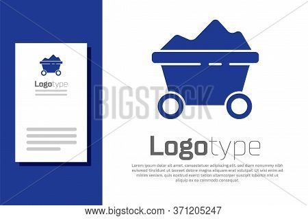 Blue Coal Mine Trolley Icon Isolated On White Background. Factory Coal Mine Trolley. Logo Design Tem