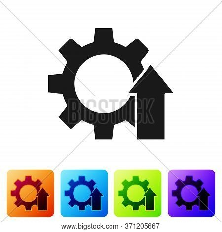 Black Arrow Growth Gear Business Icon Isolated On White Background. Productivity Icon. Set Icons In