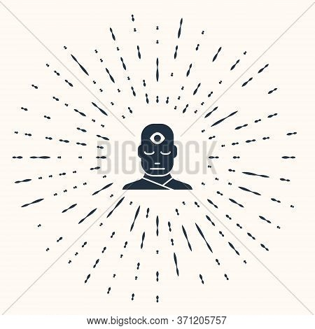 Grey Man With Third Eye Icon Isolated On Beige Background. The Concept Of Meditation, Vision Of Ener