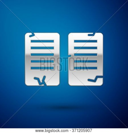 Silver The Commandments Icon Isolated On Blue Background. Gods Law Concept. Vector Illustration