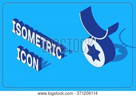 Isometric Star Of David Necklace On Chain Icon Isolated On Blue Background. Jewish Religion. Symbol