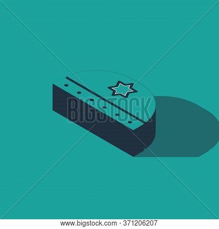 Isometric Jewish Kippah With Star Of David Icon Isolated On Green Background. Jewish Yarmulke Hat. V