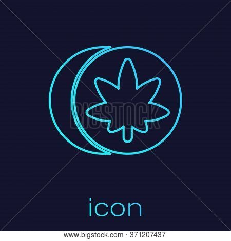 Turquoise Line Herbal Ecstasy Tablets Icon Isolated On Blue Background. Vector Illustration