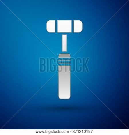 Silver Neurology Reflex Hammer Icon Isolated On Blue Background. Vector Illustration