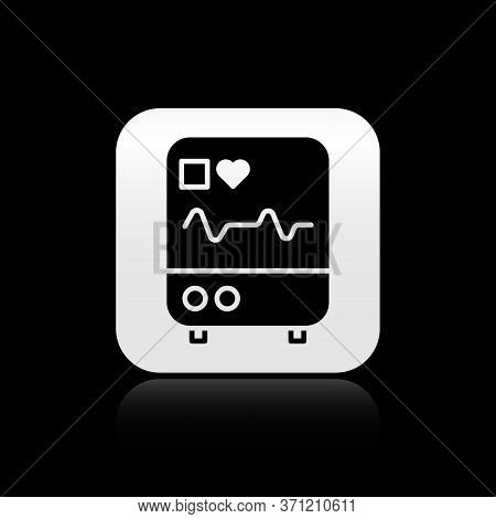 Black Computer Monitor With Cardiogram Icon Isolated On Black Background. Monitoring Icon. Ecg Monit