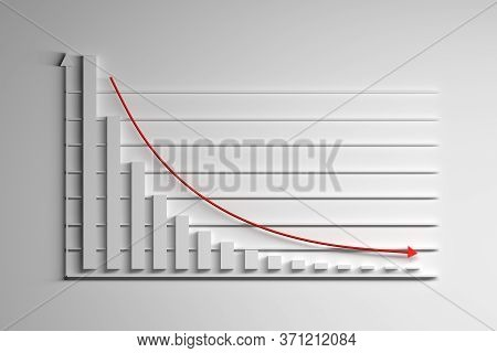 Graph Chart With Exponential Decay Bars And Arrows On White Background. 3d Illustration.