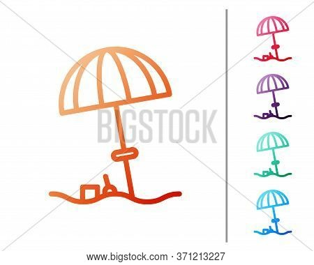 Red Line Sun Protective Umbrella For Beach Icon Isolated On White Background. Large Parasol For Outd