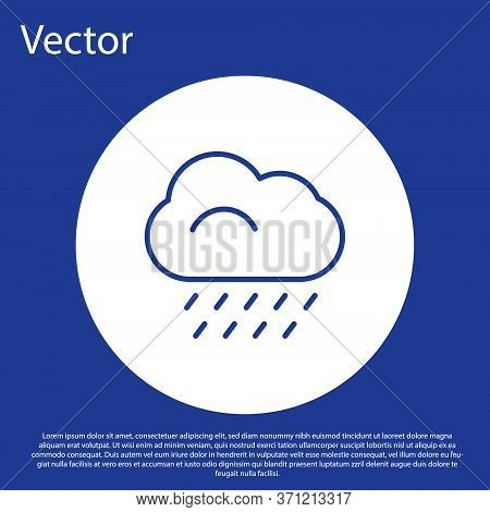 Blue Line Cloud With Rain Icon Isolated On Blue Background. Rain Cloud Precipitation With Rain Drops