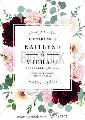 Elegant Wedding Card With Spring Flowers. White Ivory And Burgundy Red Peony, Dusty Pink Blush Rose,