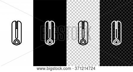 Set Line Curling Iron For Hair Icon Isolated On Black And White Background. Hair Straightener Icon.