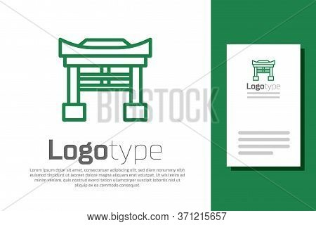 Green Line Japan Gate Icon Isolated On White Background. Torii Gate Sign. Japanese Traditional Class