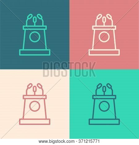 Pop Art Line Stage Stand Or Debate Podium Rostrum Icon Isolated On Color Background. Conference Spee