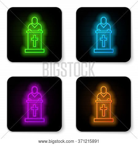 Glowing Neon Line Church Pastor Preaching Icon Isolated On White Background. Black Square Button. Ve
