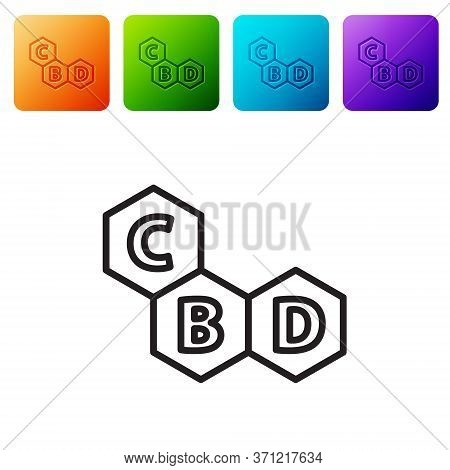 Black Line Cannabis Molecule Icon Isolated On White Background. Cannabidiol Molecular Structures, Th