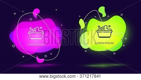 Line Plastic Basin With Soap Suds Icon Isolated On Black Background. Bowl With Water. Washing Clothe